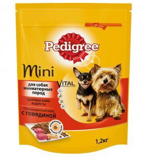 Полнорационный сухой корм для взрослых собак миниатюрных пород  Vital Protection с говядиной, 1.2 кг Pedigree