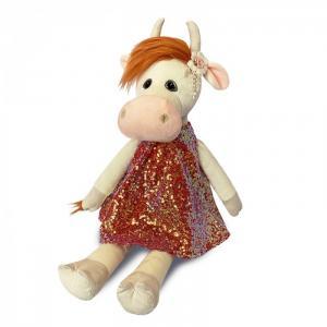 Мягкая игрушка  Коровка Глаша в коралловом платье 28 см Maxitoys