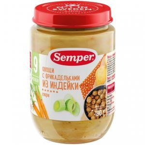Пюре  фрикадельки из индейки с овощами 9 месяцев, 190 г Semper