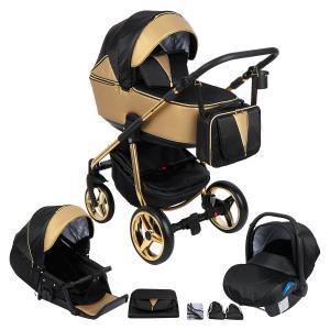 Коляска 3 в 1  Sierra Special Edition, цвет: кожа золотая/черный/золото Adamex