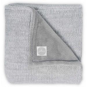 Вязаный плед с мехом Jollein Melange knit soft grey, 75х100 см. Цвет: серый
