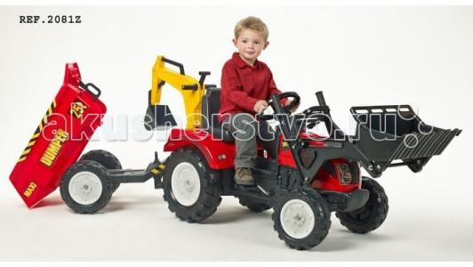 Трактор-экскаватор педальный с прицепом 219 см Falk