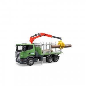 Машинка  Лесовоз Scania с портативным краном и брёвнами Bruder