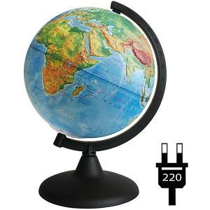 Глобус Земли физический рельефный с подсветкой Глобусный Мир