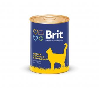 Влажный корм  для взрослых кошек, мясное ассорти с потрошками, 340г Brit