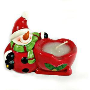 Дед Мороз и Снеговик-подсвечник со свечей, 8.2 x 4.5 7.7 см MAG2000