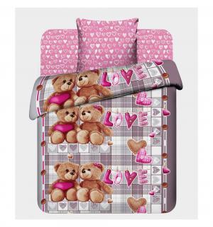Комплект постельного белья  Любимый мишка, цвет: серый/розовый Василек