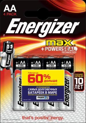 Батарейки  МАХ типа АА, 4 шт. в упаковке Energizer