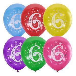 Воздушные шары  Цифра Шесть 10 шт, пастель + декоратор Latex Occidental. Цвет: разноцветный