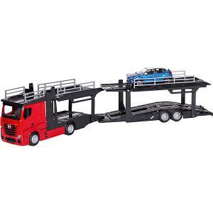 Игровой набор  Street fire Mercedes-benz actors multicar carrier, 1:43 красный Bburago. Цвет: красный