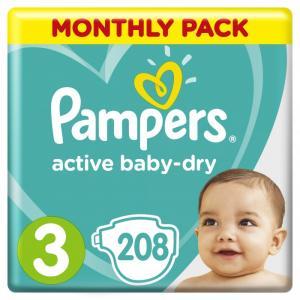 Подгузники Active Baby-Dry р.3 (6-10 кг) 208 шт. Pampers