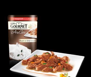 Корм влажный  A la Carte для взрослых кошек, говядина/овощи, 85г Gourmet