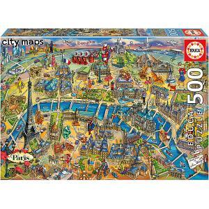 Пазл  Карта Парижа, 500 элементов Educa