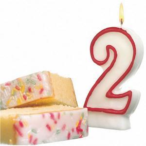 Свеча-цифра для торта  2 8,5 см, красная Susy Card