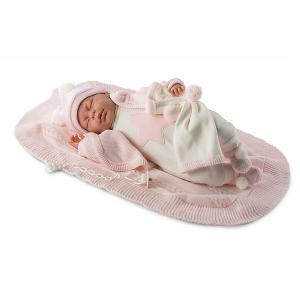 Кукла-пупс  Лала в белом комбинезоне 42 см, со звуком Llorens. Цвет: розовый