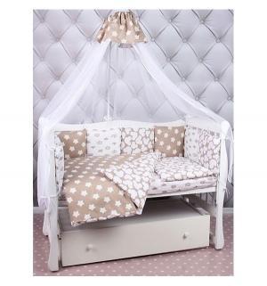 Бортик в кроватку  Soft, цвет: коричневый/белый Amarobaby
