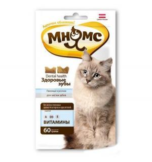 Лакомство  Здоровые зубы для взрослых кошек хрустящие подушечки, 60г Мнямс