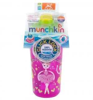 Поильник  Click Lock с трубочкой и крышкой, от года, цвет: розовый/зеленый Munchkin