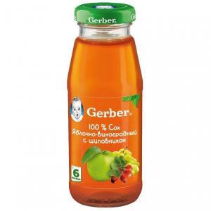 Сок  яблоко-виноград с шиповником, 175 мл Gerber