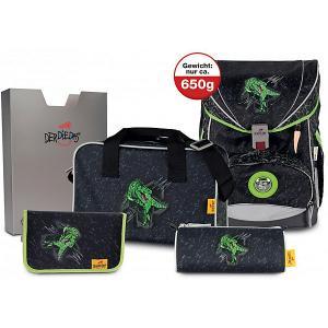 Ранец с наполнением  Ergoflex Superlight Зеленый динозавр DerDieDas. Цвет: разноцветный