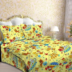 Детское постельное белье 1,5 сп , Мяу, желтый Letto