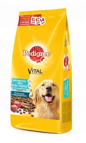 Корм сухой  для взрослых собак, говядина, 13кг Pedigree