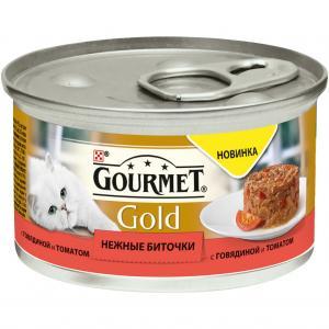 Корм влажный  Gold Нежные биточки для взрослых кошек, говядина/томаты, 85г Gourmet