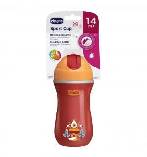 Чашка-поильник  Sport Cup с трубочкой, 14 месяцев, цвет: красный Chicco