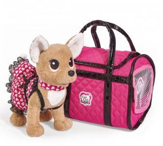 Мягкая игрушка  собачка Париж 2 в платье и с сумкой 20 см Chi-Chi Love
