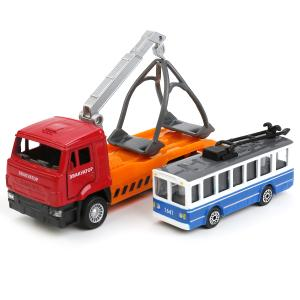 Игровой набор  Камаз эвакуатор+троллейбус 12 см/7.5 см Технопарк