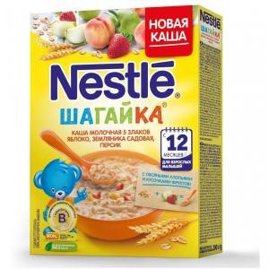 Каша  молочная 5 злаков яблоко-земляника-персик Шагайка с 12 месяцев 200 г Nestle