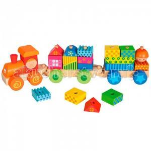 Деревянная игрушка Mertens Паровозик с домиками Bino