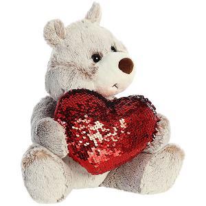 Мягкая игрушка Aurora Медведь большое сердце, 30 см. Цвет: разноцветный