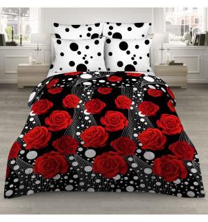 Комплект постельного белья  нав. 70х70 см, цвет: черный/красный Василиса
