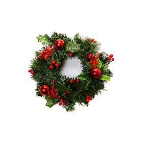 Новогоднее украшение - венок на стену, диаметр 25 см, в полибеге MAG2000