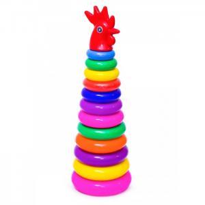 Развивающая игрушка  Пирамида Золотой петушок 13207 Пластмастер