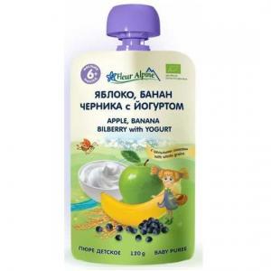 Пюре  Органик яблоко-банан-черника-йогурт с 6 месяцев, 120 г Fleur Alpine