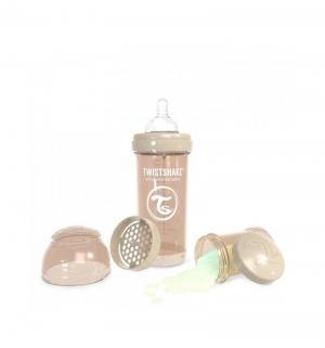 Бутылочка  для кормления антиколиковая пластик с рождения, 260 мл, цвет: бежевый Twistshake