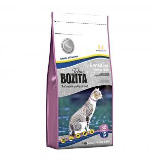 Сухой корм  Feline Sensitive Hair & Skin 30/15 для взрослых кошек здоровой кожи и шерсти, курица, 2кг Bozita