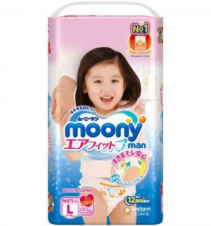 Подгузники-трусики  L для девочек (9-14 кг) 44 шт. Moony