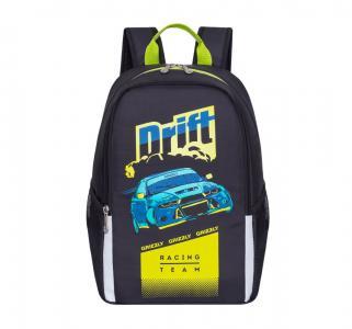Рюкзак школьный  цвет: черный-салатовый 29х38х17 см Grizzly