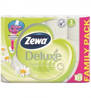Туалетная бумага 3-х слойная ромашка  Deluxe, 12 шт Zewa