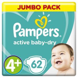 Подгузники  Active Baby-Dry Размер 4 + (10-15 кг) 62 шт. Pampers