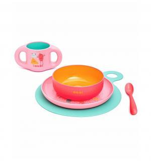 Набор посуды для кормления  Booo! 5 предметов, цвет: розовый Suavinex
