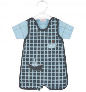 Комплект футболка/полукомбинезон  Gabrys, цвет: голубой/синий Sofija