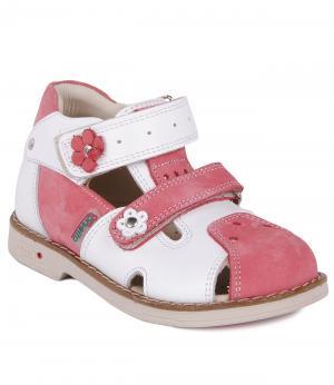 Сандалии закрытые для девочки (бело-розовые) Orsetto. Цвет: розовый