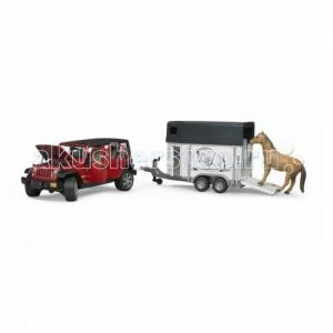Внедорожник Jeep Wrangler Unlimited Rubicon c прицепом-коневозкой Bruder