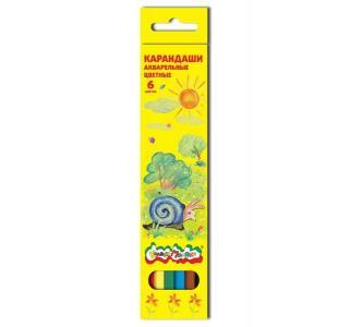 Карандаши цветные  акварельные шестигранные 6 шт. Каляка-Маляка