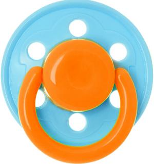 Пустышка  Солнышко латекс, с 6 мес, цвет: голубой/кольцо оранжевое Курносики