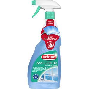 Средство для мытья стекол, пластика и зеркал , 500 мл Unicum